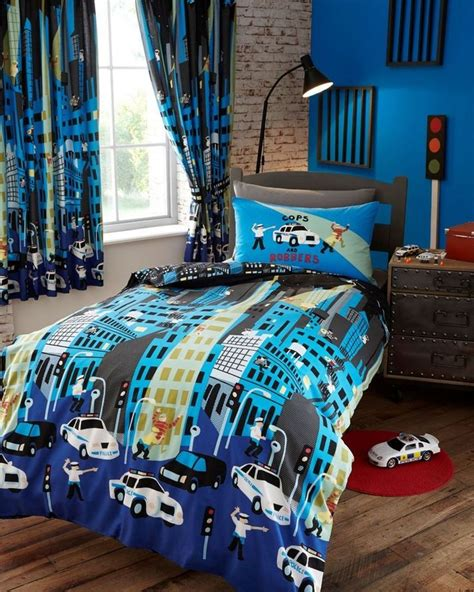 childrens cops robbers police chase double duvet cover
