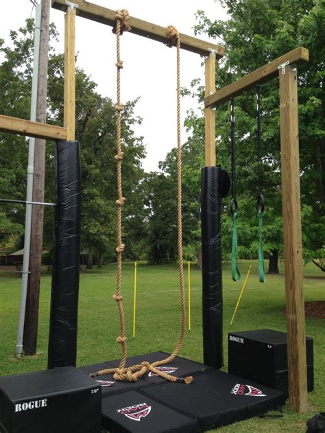 backyard gymnastics equipment rogue rope climb with mad rock pads re pinned by crossed