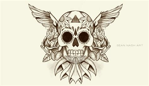 skull with wings tattoo designs skull tattoos page 35