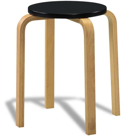 Stackable Bar Stools Sale by Vidaxl Co Uk 4 Black Stackable Solid Bentwood Stools