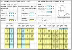 Detention Pond Design Spreadsheet Detention Pond Routing Spreadsheet Calculations