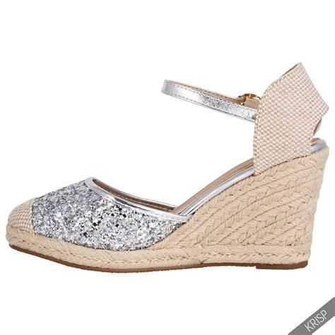 Glitter High Heel Sandals womens glitter summer espadrille sandals high heel wedge