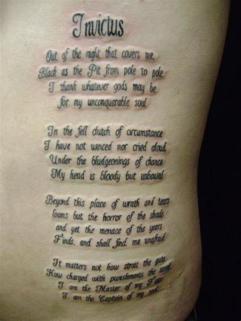 invictus poem tattoo 13 poem tattoos on side rib