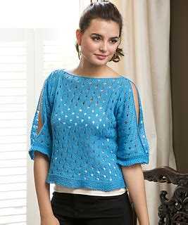 Payson Cold Shoulder Top Blue by Ravelry United Kingdom Patterns