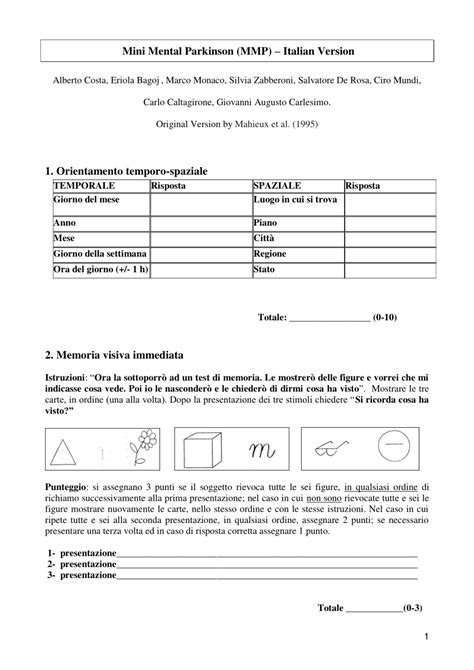 mini mental test italiano mini mental parkinson test standardization and normative