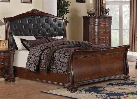 dark finish queen sleigh bed maddison rich brown finish upholstered queen sleigh bed