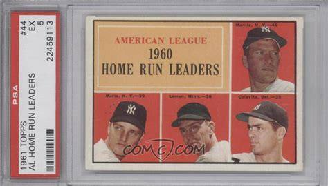 1961 topps base 44 american league home run leaders