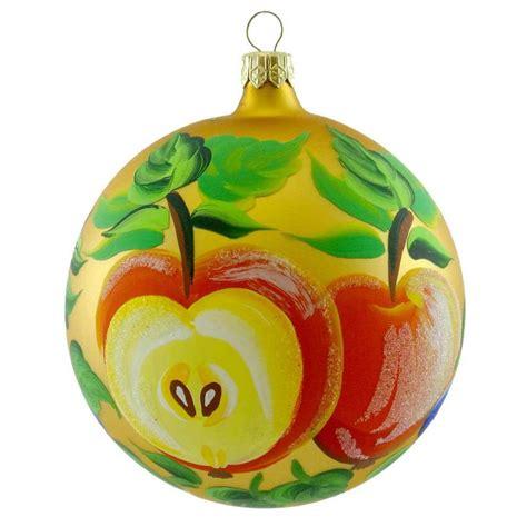 apple ornaments tree ornament gold fruit blown glass tree