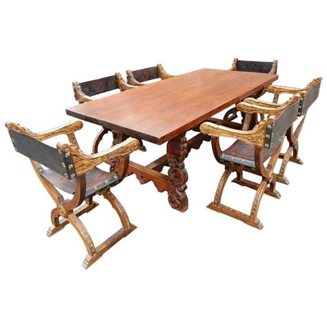 Carved Dining Table And Chairs Colonial Dining Table With Six Elaborate Carved Wood And Leather Chairs For Sale At 1stdibs