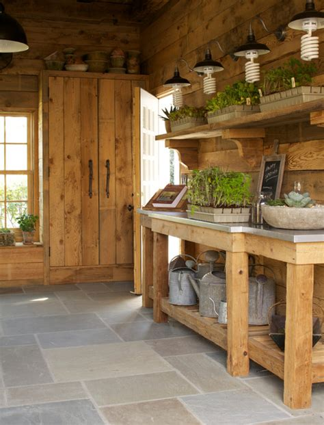 potting shed interior with rustic country design idea she shed or potting shed town country living