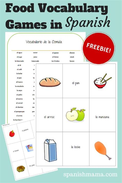 english vocab themes food vocabulary games in spanish language spanish
