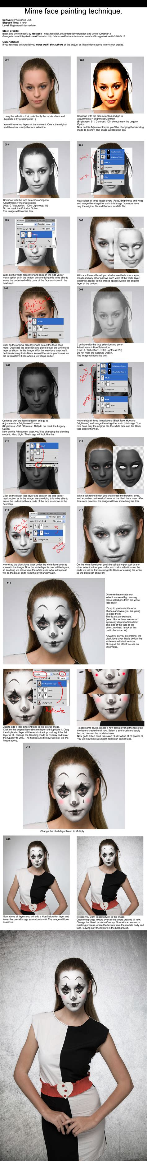tutorial photoshop deviantart mime face painting tutorial photoshop by pshoudini on