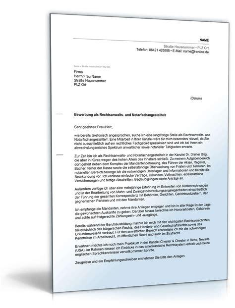 Anschreiben Notar anschreiben bewerbung rechtsanwalts und notarfachangestellte