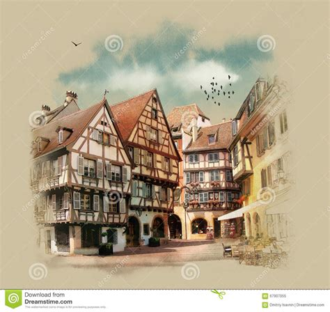 French European House Plans old houses of europe colmar france stock illustration