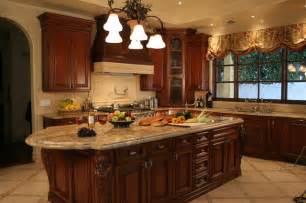 Mediterranean kitchen frieze moulding shaped kitchen cabinets range