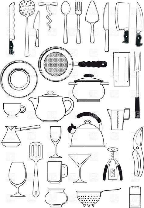 printable images of kitchen utensils tableware kitchen utensils silhouettes download royalty