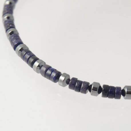 Mens Handmade Necklaces - handmade mens bead necklace in blue goldstone and hematite