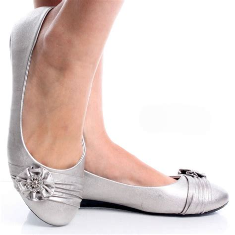 shoes silver flats silver womens ruched rhinestone flower bow slip on ballet