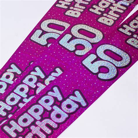 Wedding Banners At Card Factory by Holographic Pink Foil 50th Birthday Banners Only 99p