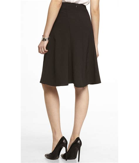 express high waist midi fit and flare skirt in black lyst