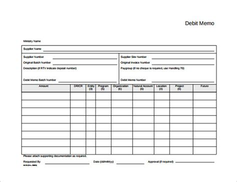 sample debit memo 8 documents in pdf