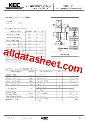 transistor tip31c datasheet tip31c datasheet pdf kec korea electronics
