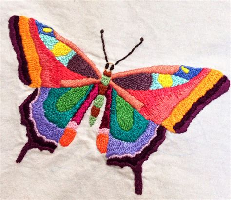 Embroidered butterfly   I'm hoping to finish twenty or