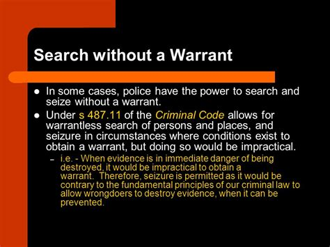 Criminal Code Of Canada Search Without Warrant Search And Arrest Cln4u Ppt
