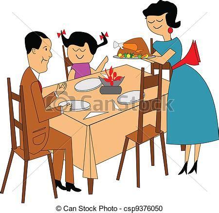 vektor clipart abendessen familie familie sitzen
