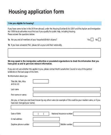 housing application template sle housing application form 10 free documents in pdf