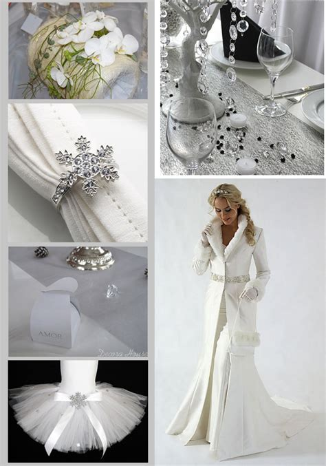 Winter elements in wedding decoration; white, silver and