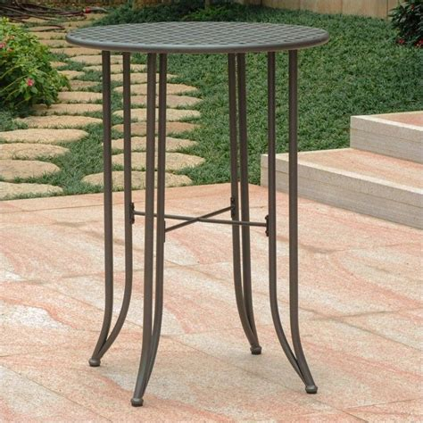 Patio Pub Tables International Caravan Mandalay Bar Height Patio Matte Brown Outdoor Pub Table Ebay