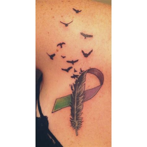 liver cancer tattoos green represents my battling liver cancer purple