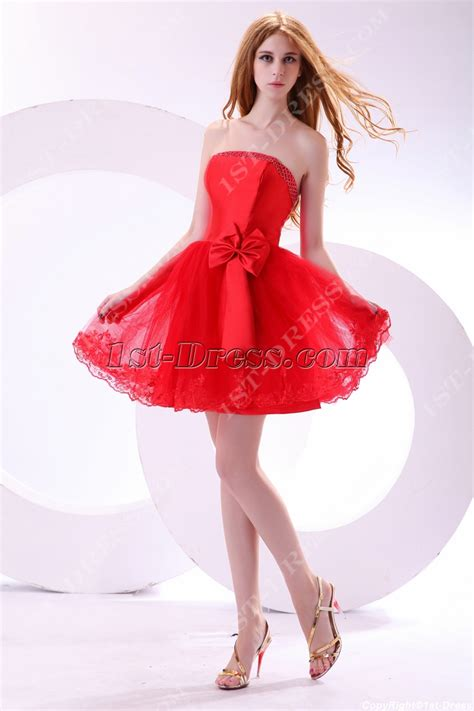 Sweet Red Short Princess Prom Dress:1st dress.com
