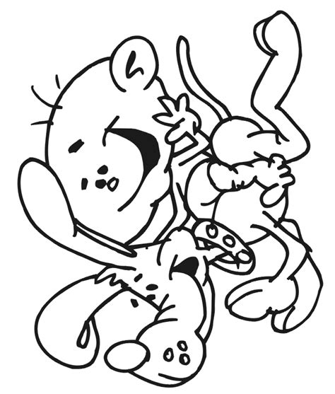 dog coloring page baby riding dog