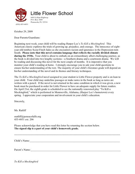 Permission Letter Raj 2009 To Kill A Mockingbird Parent Letter