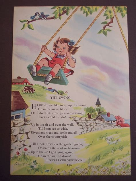 the swing book robert louis stevenson nursery rhyme poem 1948 vintage