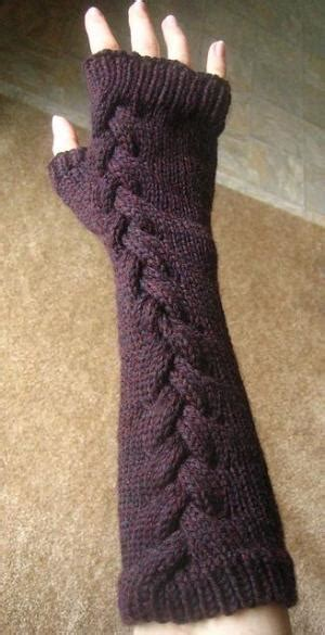 knit picks cables fingerless mitts w centered cable