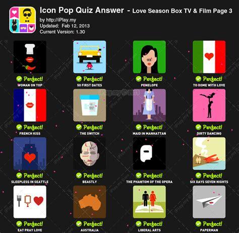 love film quiz jawaban icon pop quiz love season tv film
