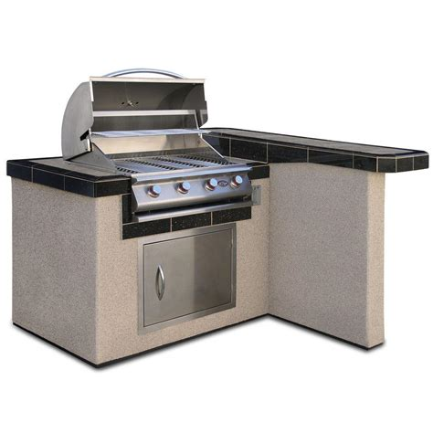 cal 4 ft stucco grill island with 4 burner