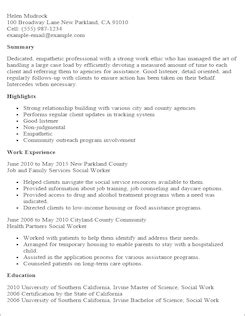 human services resume templates resume template social worker