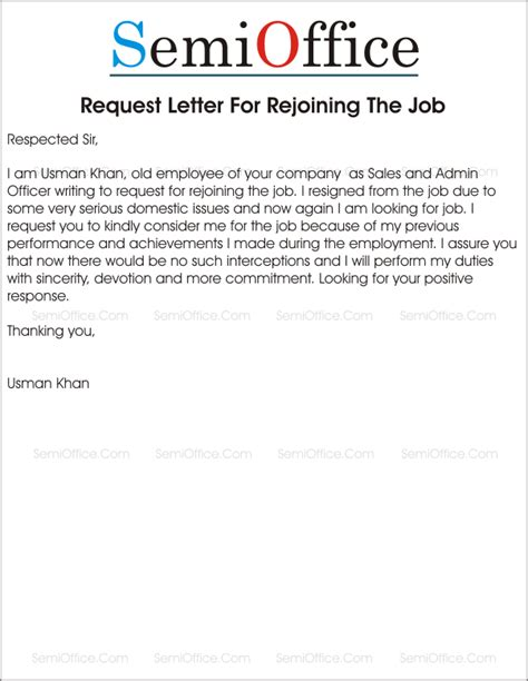 Service Letter Request From The Company Rejoining Letter After Resignation From Company
