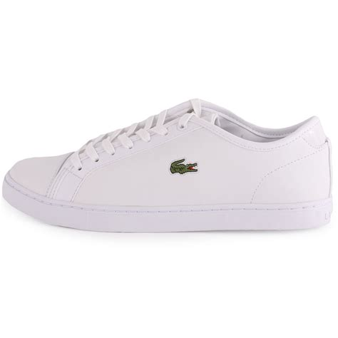 lacoste showcourt gsk womens leather white white trainers