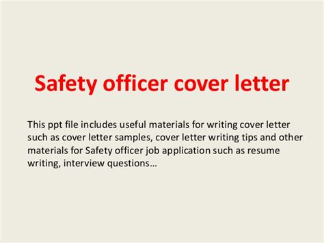 Cover Letter For Application Safety Officer Safety Officer Cover Letter
