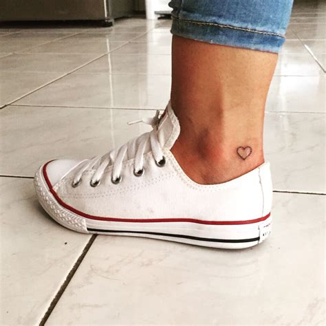 small heart tattoos on foot small ankle