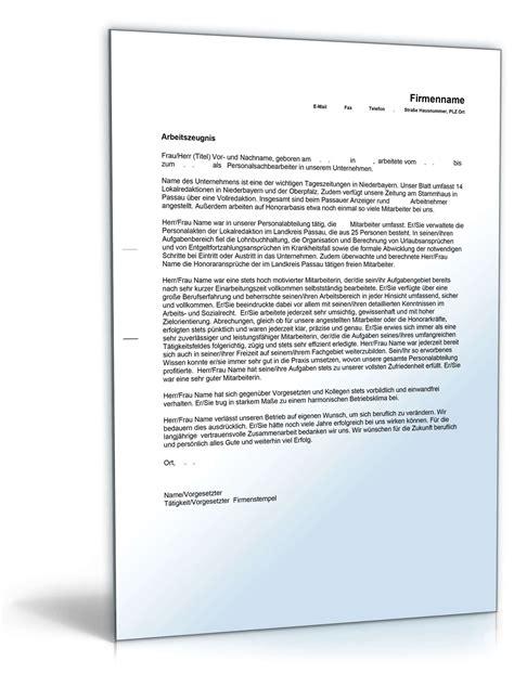 arbeitszeugnis personalsachbearbeiter note eins