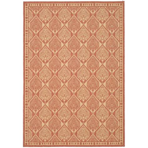 Outdoor Area Rugs Home Depot Safavieh Courtyard Rust Sand 8 Ft X 11 Ft Indoor Outdoor Area Rug Cy5149a 8 The Home Depot