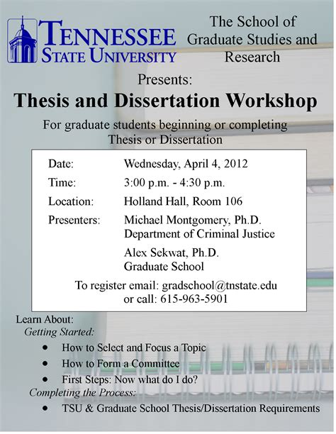 thesis and dissertation thesis and dissertation workshop