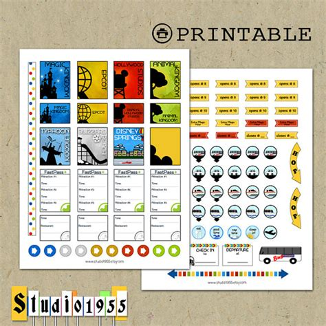 free printable disney planner stickers printable disney world planner stickers for use with erin