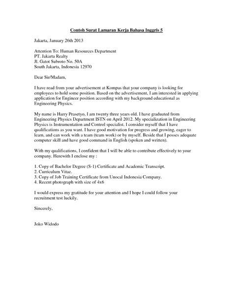 contoh surat lamaran kerja terbaru untuk fresh graduate 10 contoh surat lamaran kerja inggris ben jobs